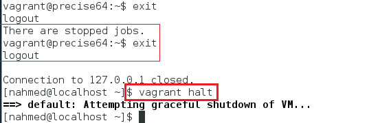 vagrant halt